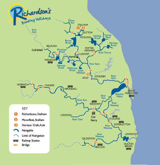 Map Of The Norfolk Broads Map of the Broads   Richardson's Boating Holidays Map Of The Norfolk Broads