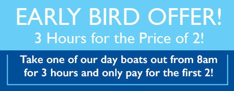 Take one our day boats from 8am for 3 hours and only pay for the first 2!
